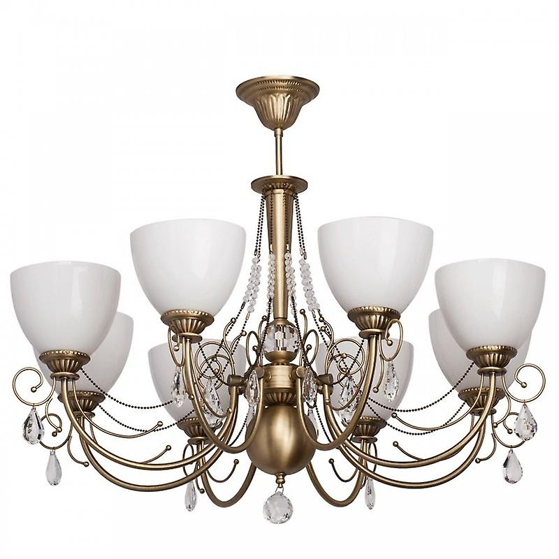 8 Light Semi Flush Multi Arm Ceiling Light blanc, Antique Brass With blanc Glass And Crystals