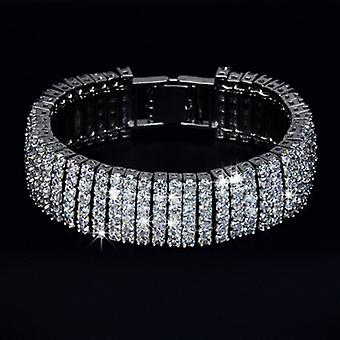 18K White Gold Plated AAA+ Swiss Cubic Zirconia 5 Tier Bracelet, 18 cm length
