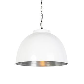 QAZQA Industrial redondo colgante Lámpara grande blanco con cortina interior de níquel - Hoodi