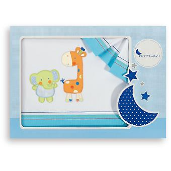 Interbaby Triptico Cuna モデル象とキリン ターコイズ (繊維、子供のリネン)