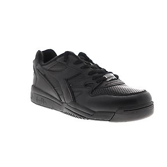 Diadora Rebound Ace Mens Black Leather Low Top Lace Up Sneakers Shoes