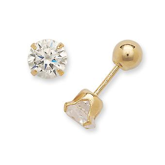 14k Yellow Gold Hollow Prong set Screw back Post Earrings Polished Reversible 5mm Cubic Zirconia and Ball Earrings - Mea