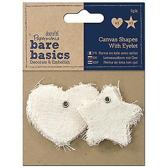 Papermania Bare Basics Canvas Shapes with Eyelet 6 Pkg Star & Heart Pma174406