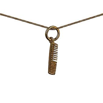 9ct Gold 15x4mm Hair Dresser's Comb Pendant with a curb Chain 20 inches