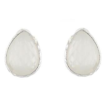 Clip On Earrings Store Ivory Faceted Stone Tear Drop Clip on Earrings