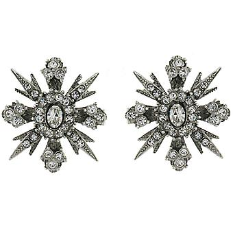 Kenneth Jay Lane Silver and Crystal Edwardian Star Stud Earrings