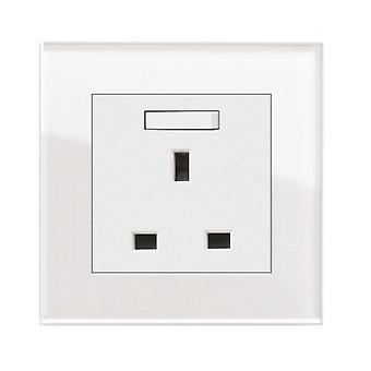 I LumoS AS Luxury White Crysta l Glass Single Switched Wall Plug  13A UK Sockets