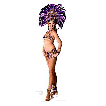 Carnival Purple Peacock Feathers Babe Lifesize Cardboard Cutout / Standee/ Stand Up