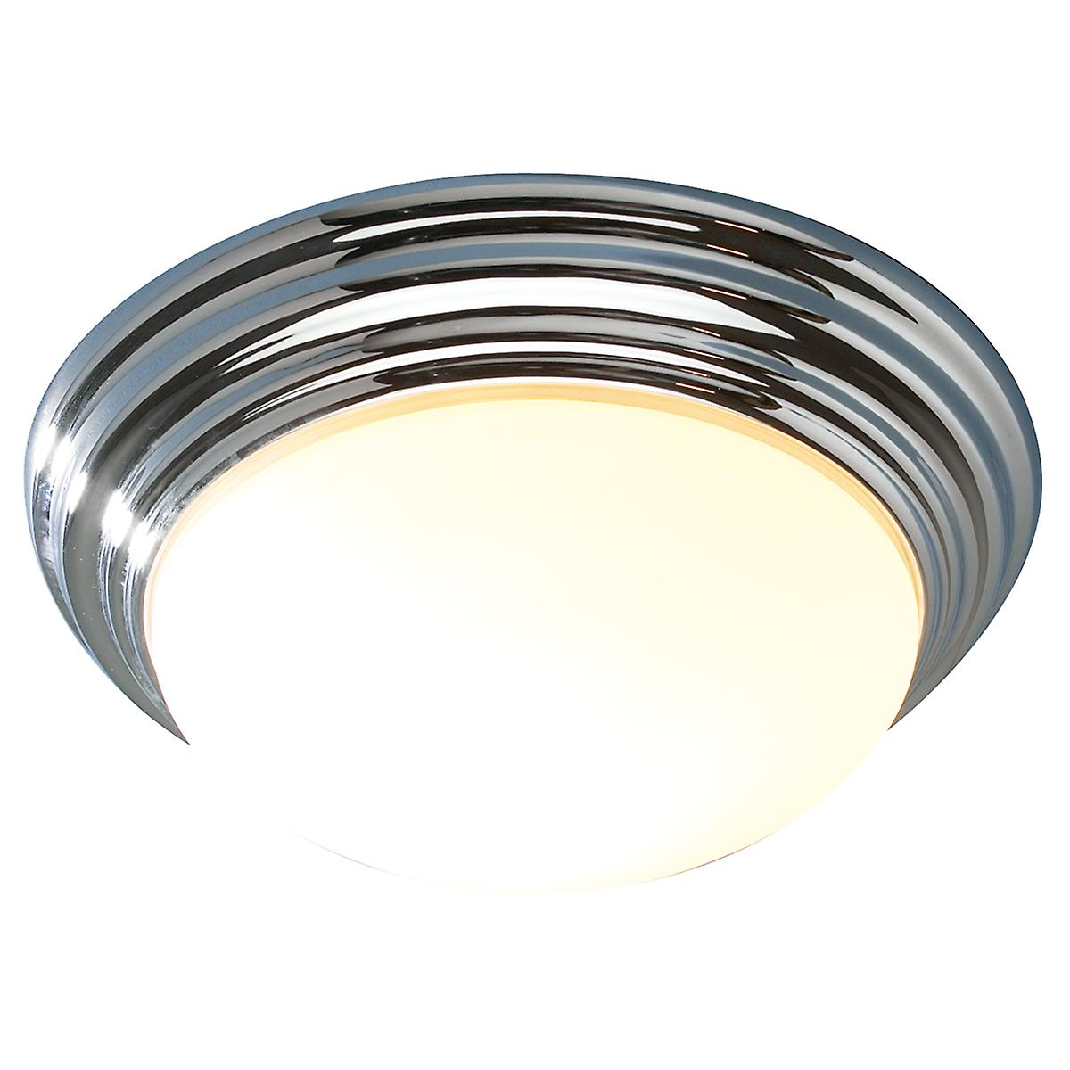 Dar BAR5050 Barclay Modern Chrome Bathroom Flush Ceiling Light - 38cm