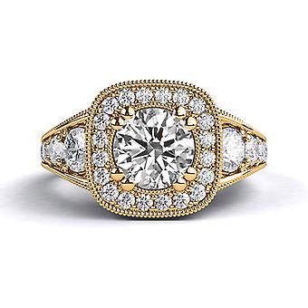 1.80ct White Sapphire and Diamonds Ring Rose Gold 14K Art Deco Round