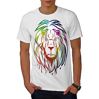 Lion Colorful Art Animal Men White T-shirt | Wellcoda