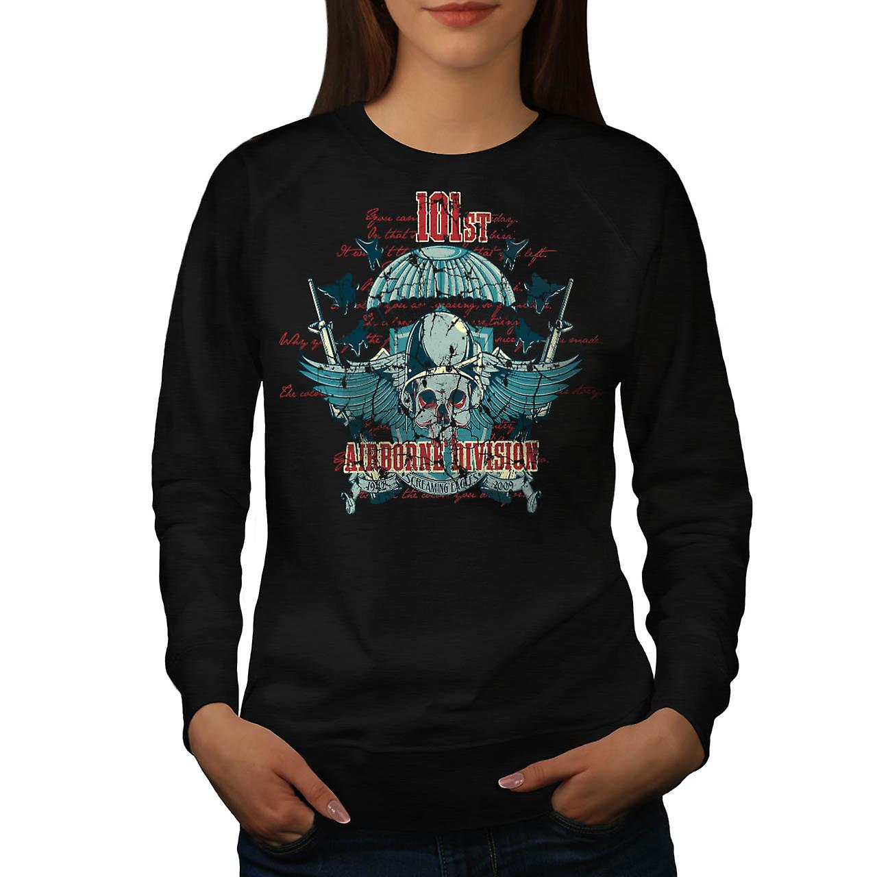 Airborne Division Fly War Flight Women Black Sweatshirt | Wellcoda