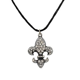 Rhinestone Fleur de Lis with Black Cord Necklace