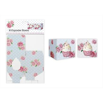 Pack of 6 Individual Cupcake Boxes 2 Designs Afternoon Tea Style