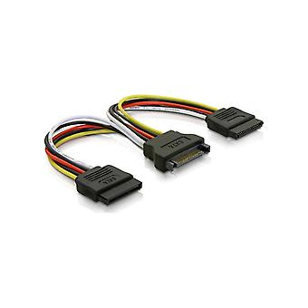 DELTACO Y power adapter for 15-pin SATA power, for 2 hard drives, 1