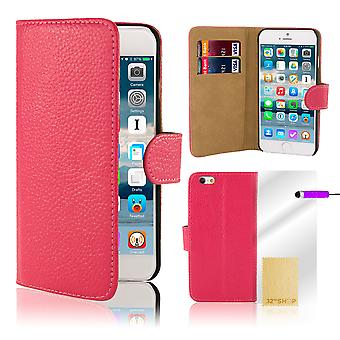 Premium Book Wallet Case Cover for Apple iPhone 6 Plus (+ 6S Plus) - Hot Pink