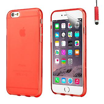 Crystal gel case cover for Apple iPhone 6 Plus (5.5 inch) + touch stylus - Red