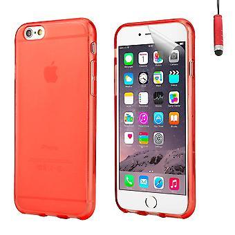 Housse étui case gel cristal pour Apple iPhone 6 Plus (5,5 pouces) + tactile stylet - rouge
