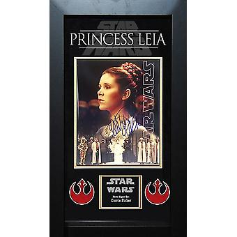 Star Wars Princess Leia Signed Photo - by the late Carrie Fisher in Wood Frame