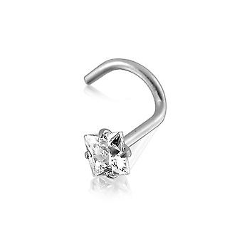 Nose Stud Screw Piercing 14 ct White Gold, Body Jewellery, Square White Stone