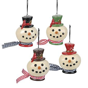 Snowmen Heads Salt and Pepper Shakers Set Holiday Ornaments 2 Pair
