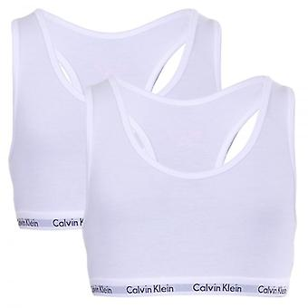 Calvin Klein Girls 2 Pack Modern Cotton Bralette, White, Medium