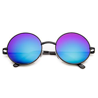 Mid Sized Lennon Style Mirror Lens Metal Round Sunglasses
