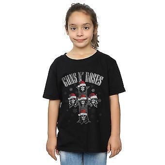 Guns N Roses Girls Christmas Cross T-Shirt