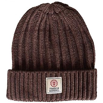 Franklin & Marshall Ua910 Ribbed Camp Brown Beanie Hat