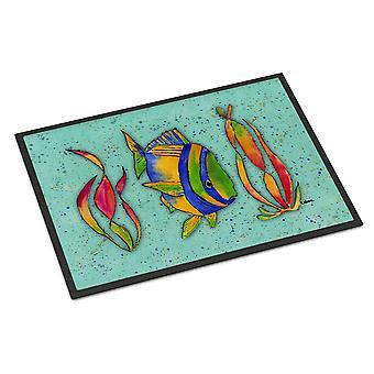 Carolines Treasures  8569MAT Tropical Fish on Teal Indoor or Outdoor Mat 18x27