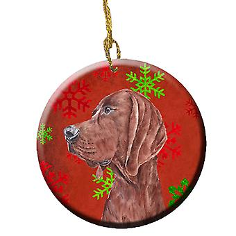 Redbone Coonhound Red Snowflakes Holiday Ceramic Ornament