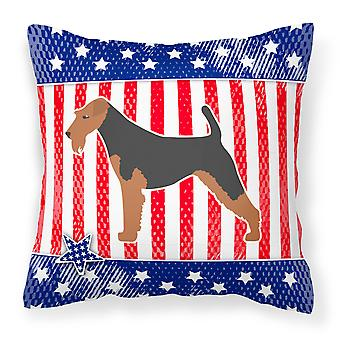 USA Patriotic Airedale Terrier Fabric Decorative Pillow
