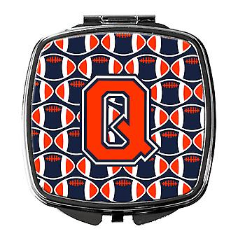 Letter Q Football Orange, Blue and white Compact Mirror