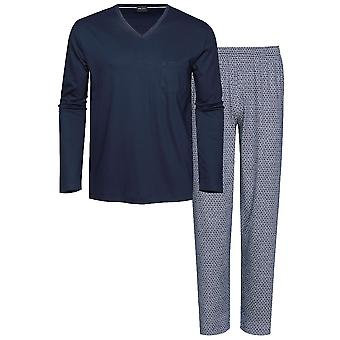 Mey 13881 Men's Moja Yacht Blue Geometric Print Cotton PJ Set