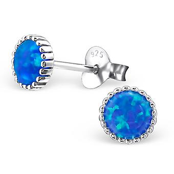 Round - 925 Sterling Silver Opal And Semi Precious Ear Studs - W23622x