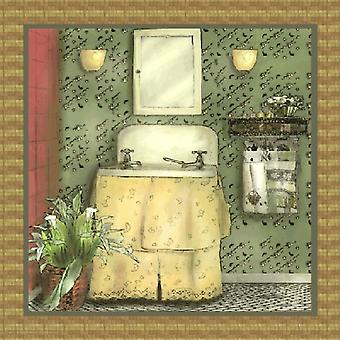 Bathroom In Green I Poster Print by Lenny Karcinell (12 x 12)