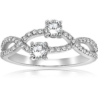 3/4ct Two Stone Forever Us Diamond Engagement Bypass Ring in White Gold