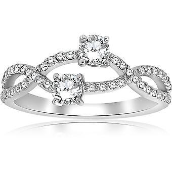 3 / 4ct två sten för evigt oss Diamond Bypass förlovningsring i vitt guld
