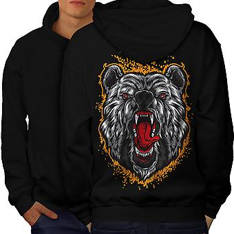 Bear Animal Men BlackHoodie Back | Wellcoda
