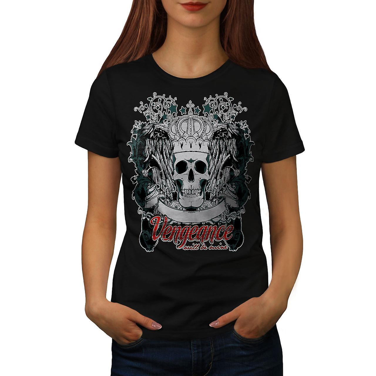 Vengeance Be Mine Skull Women Black T-shirt | Wellcoda