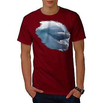 Dolphin Smile Cute Men RedT-shirt | Wellcoda