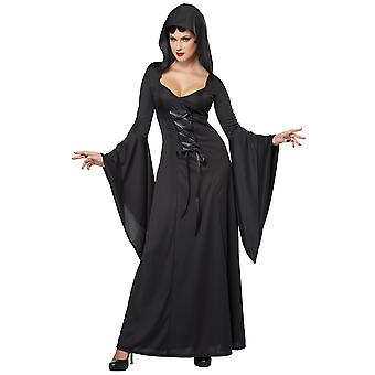 Deluxe Hooded Robe Black Witch Vampire Women Costume