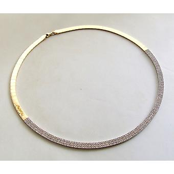 14 k Yellow and white gold necklace with cubic zirconia