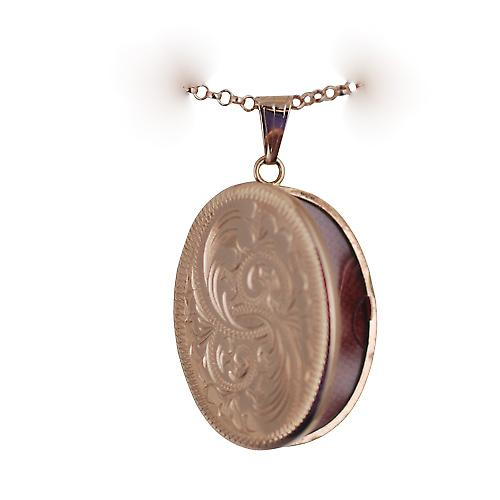 9ct Rose Gold 35x26mm hand engraved flat oval Locket with a belcher Chain 16 inches Only Suitable for Children