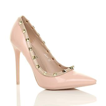 0337536fa47 Ajvani womens high heel stiletto studded contrast pointed court shoes pumps