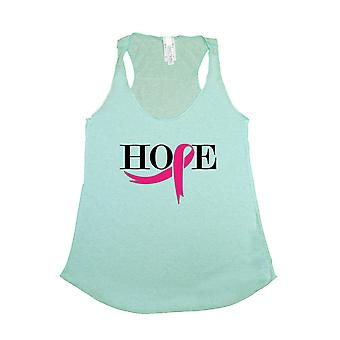 Women's Ribbon of Hope Breast Cancer Awareness Tri Blend Tank TURQUOISE