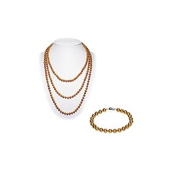 Ornament Golden woman Long collar necklace and Bracelet of freshwater cultured pearls