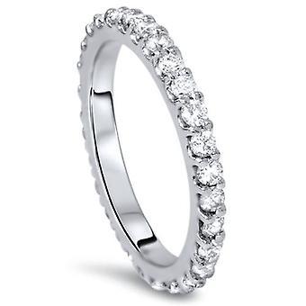 7 / 8ct Diamant Ewigkeit Ring 14K Weissgold