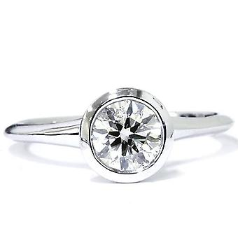 1ct SI Bezel Solitaire Diamond Engagement Ring 14K White Gold