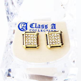 Gouden bling iced out oorbellen - PAVE SQUARE